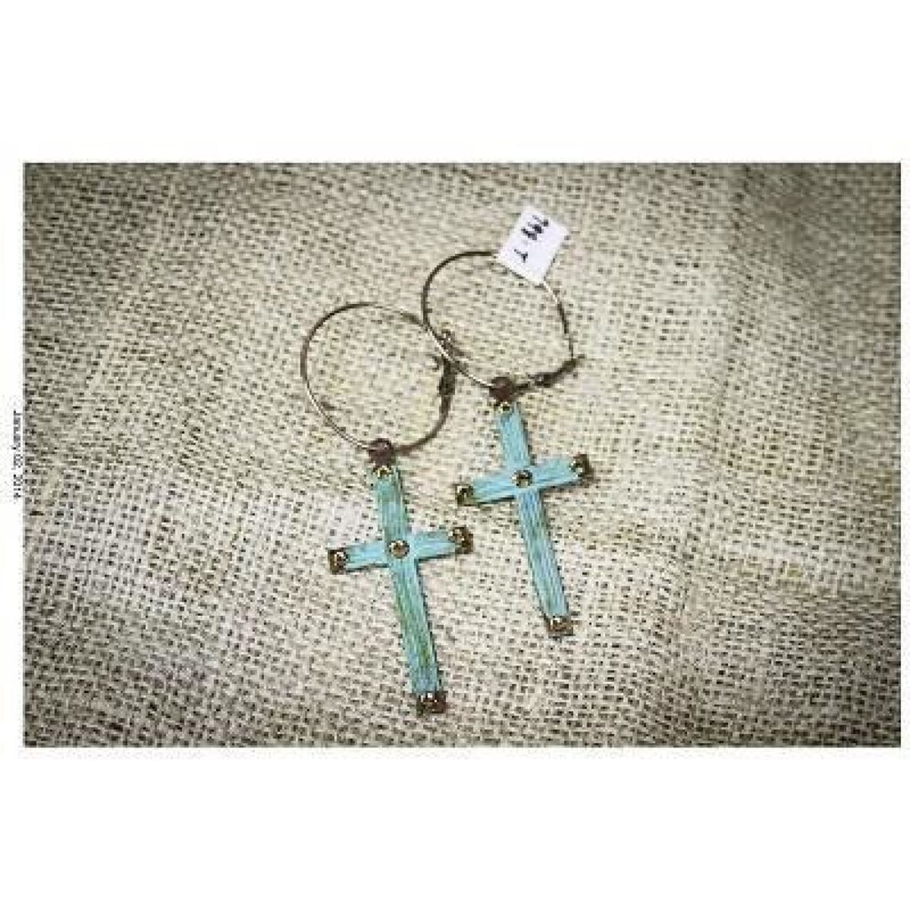 Hoop Earrings With Cross,Earrings - Dirt Road Divas Boutique