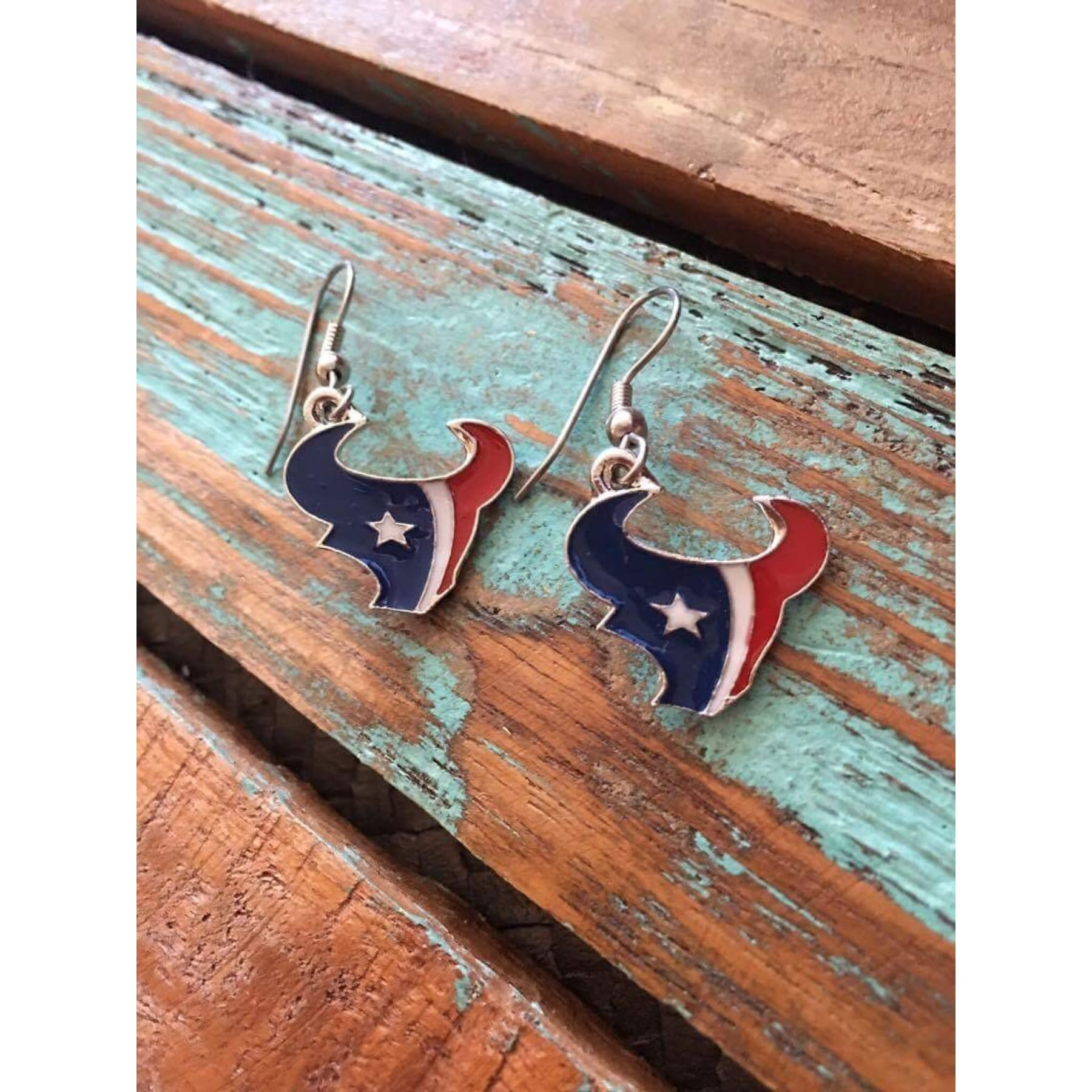 Houston Texans Bull Earrings,Earrings - Dirt Road Divas Boutique