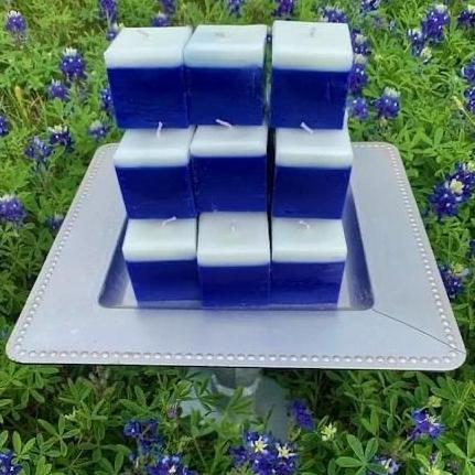 Texas General Square Candle  ~ Texas Bluebonnet