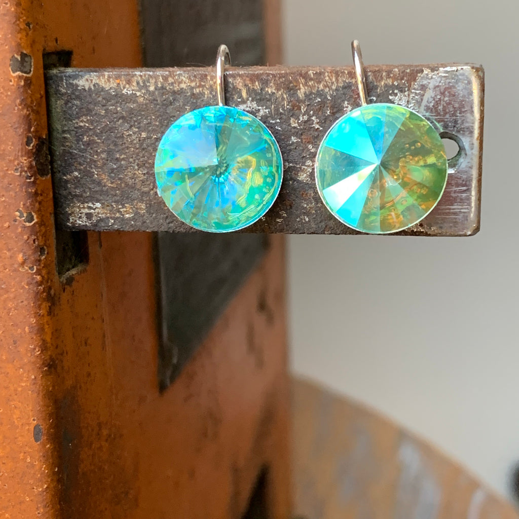 Handmade Silver Earrings with Round Swarovski Crystals in Light Glacier Turquoise,Earrings - Dirt Road Divas Boutique