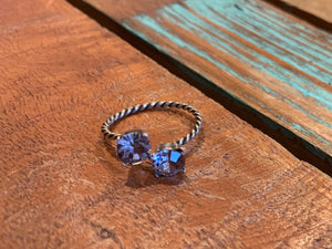 Twin Lavender Crystal Twist Ring