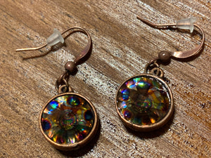 Handmade Copper Earrings with Round Swarovski Peacock Eye Crystals,Earrings - Dirt Road Divas Boutique