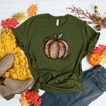 Hand Painted Pumpkin Tee- Army Green