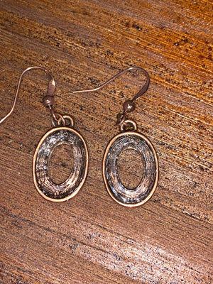 Antiqued Copper Oval Earrings with Clear Oval Swarovski Crystal Embedding.,Earrings - Dirt Road Divas Boutique