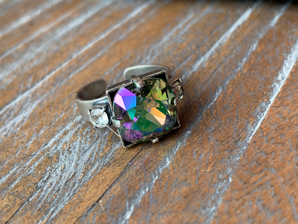 Antiqued Silver Ring with a 12mm Paradise Shine Swarovski Crystal,Ring - Dirt Road Divas Boutique