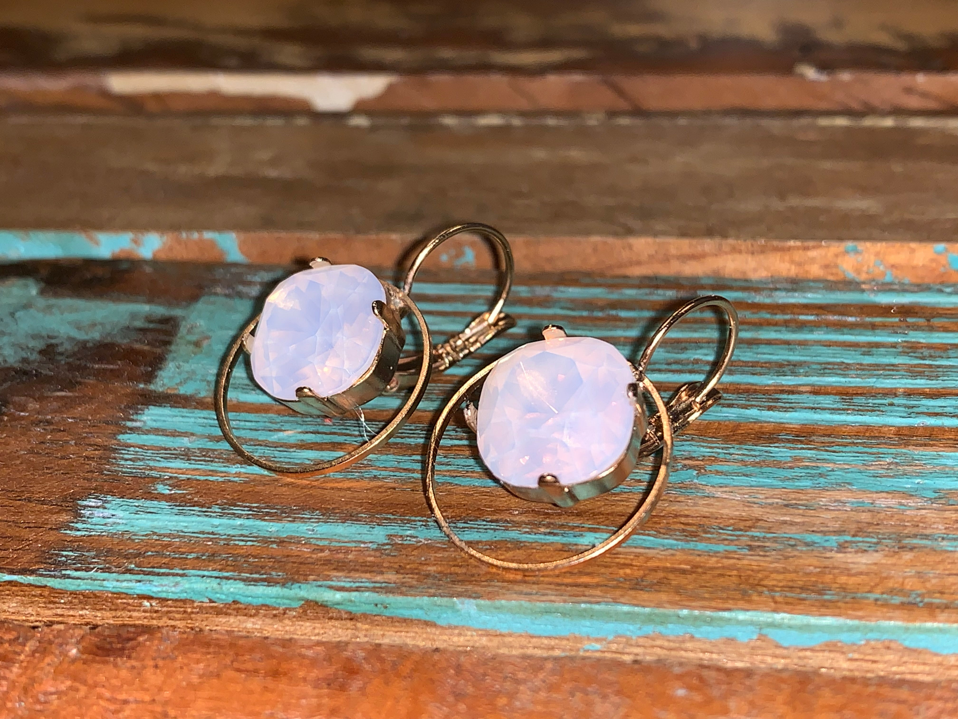 Rose Gold Small Hoop Earrings with Rose Opal Swarovski Center,Earrings - Dirt Road Divas Boutique