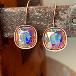 Handmade Antiqued Copper AB  Swarovski Crystal Earrings,Earrings - Dirt Road Divas Boutique