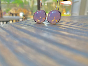 Handmade Rose Opal Swarovski Earrings in Silver,Earrings - Dirt Road Divas Boutique