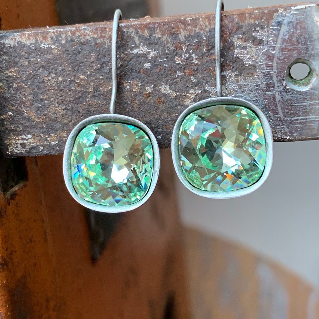 Handmade Antiqued Silver Earrings with Chrysolite Green Swarovski Crystal,Earrings - Dirt Road Divas Boutique