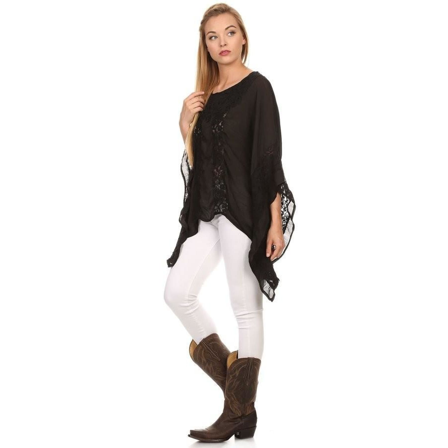 Lace Detail Flutter Sleeve Swing Top,Top - Dirt Road Divas Boutique