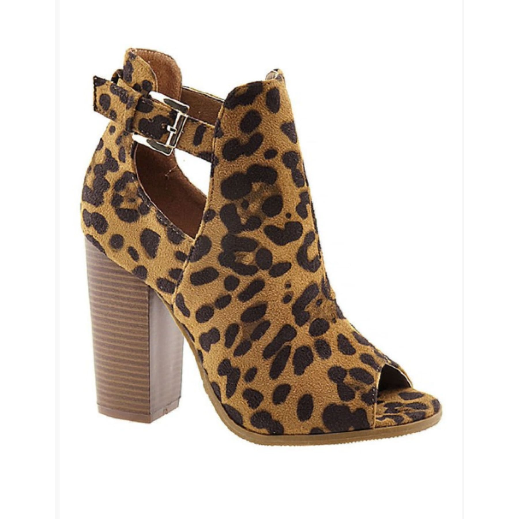 Leopard Peep Toe Booties,Booties - Dirt Road Divas Boutique