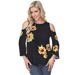 Lolly Floral Cold Shoulder Top ~ 2 Colors,Top - Dirt Road Divas Boutique