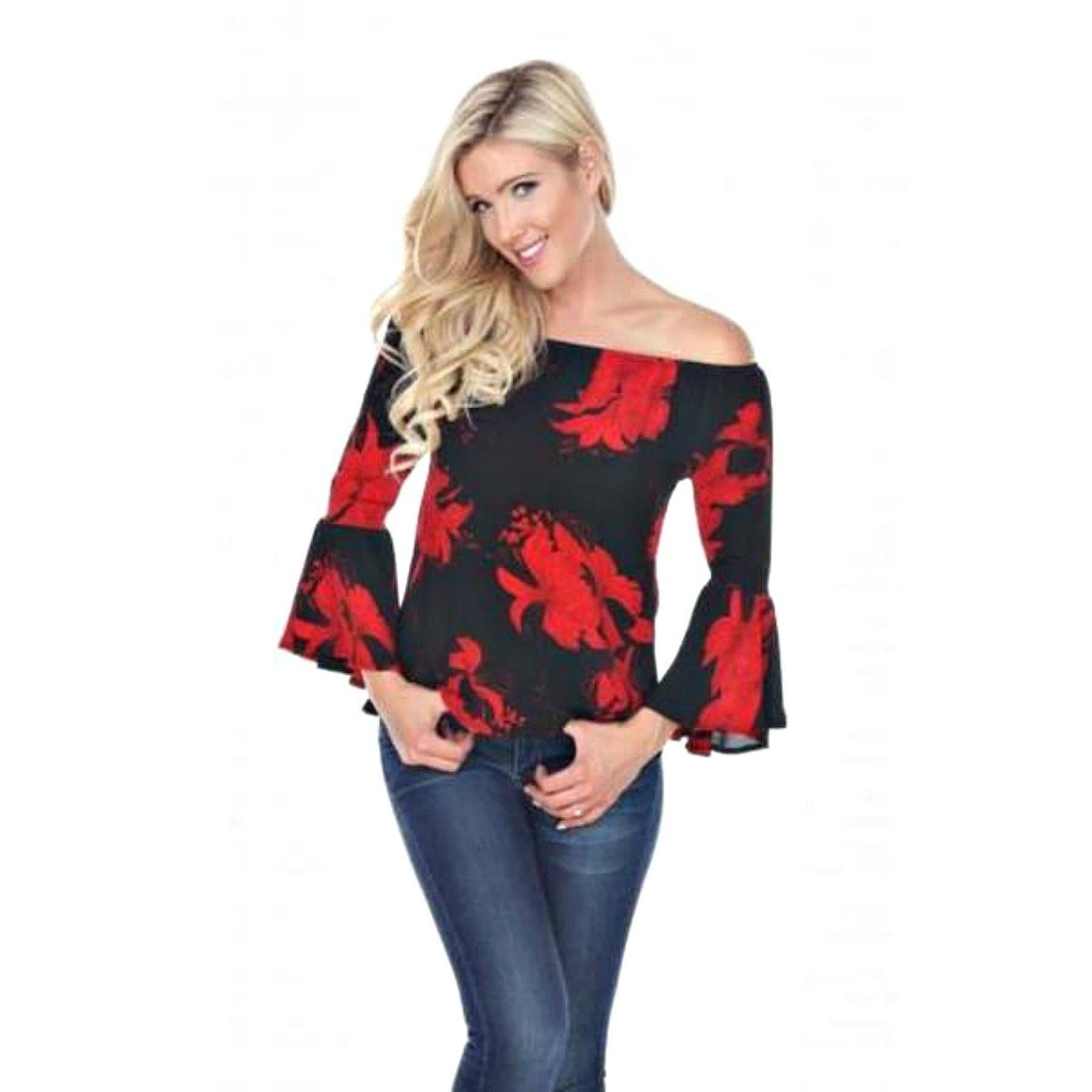 Midnight Garden Bell Sleeve Floral Top,Top - Dirt Road Divas Boutique