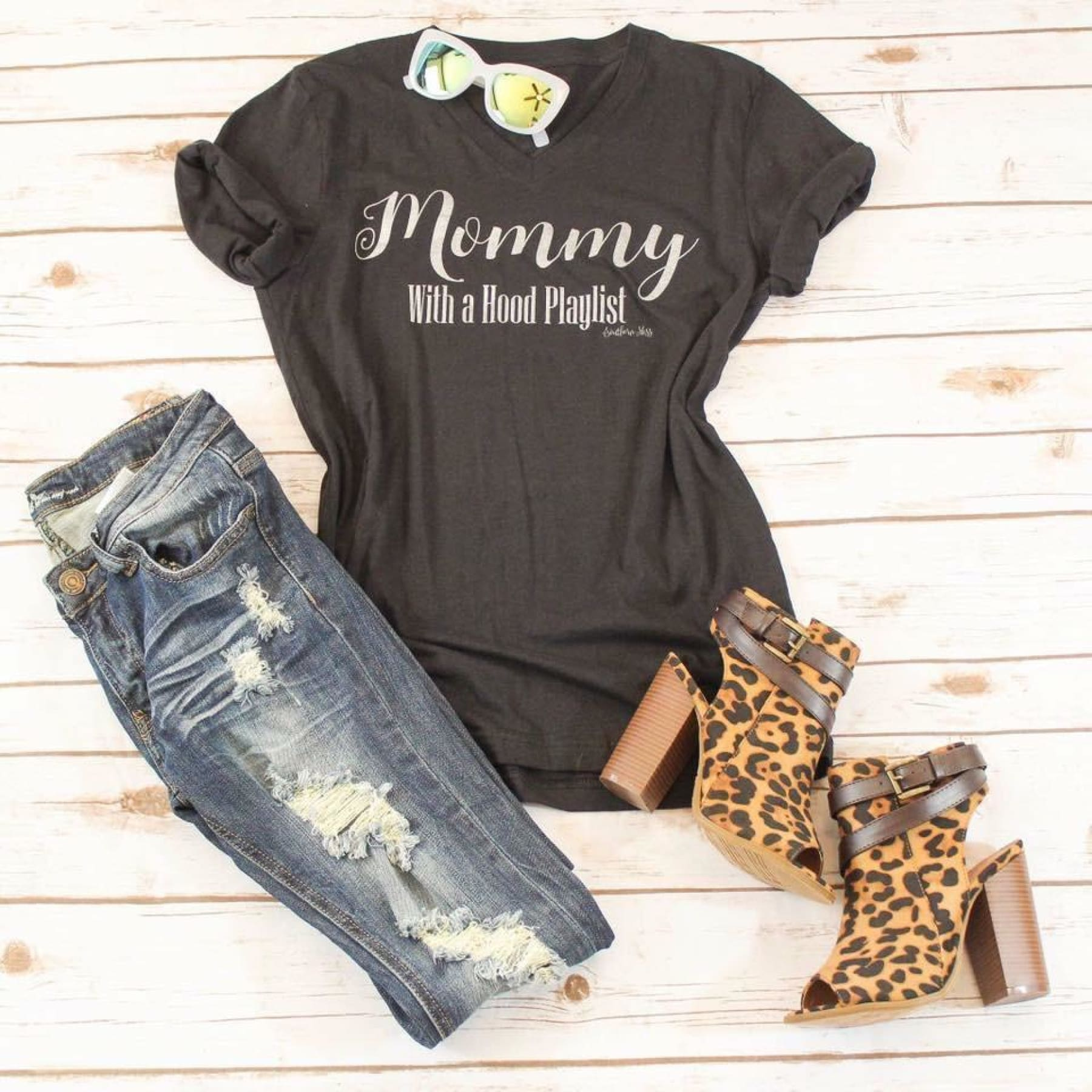 Mommy with a Hood Playlist Tee,Graphic Tee - Dirt Road Divas Boutique