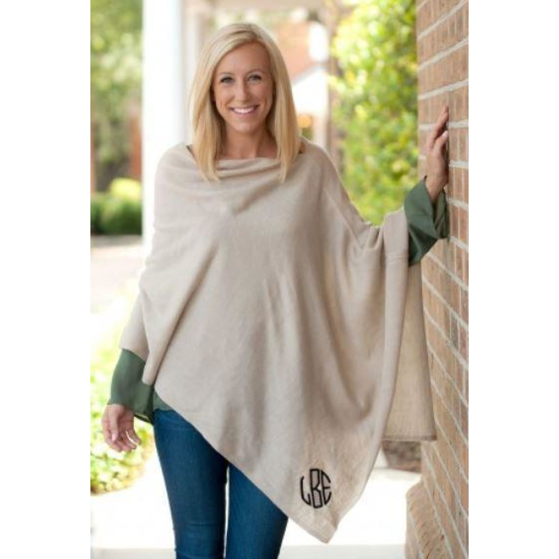 Monogrammed Fall Fling Poncho ~ 4 color choices,Outerwear - Dirt Road Divas Boutique