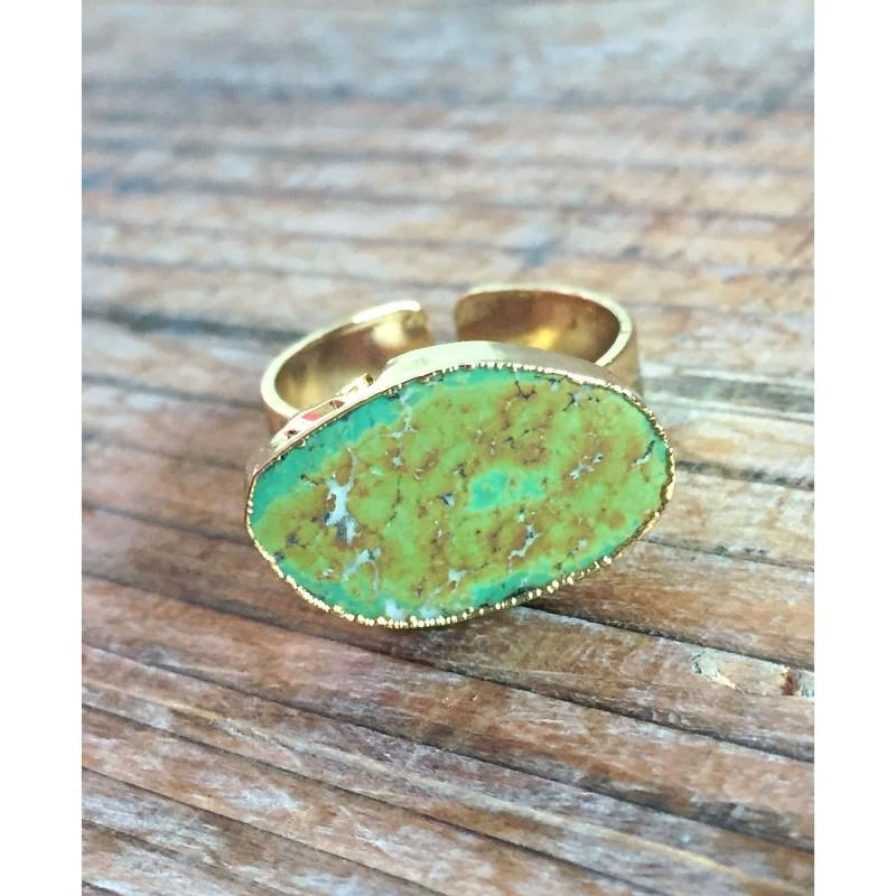 Natural Dark Green Turquoise Stone Ring,Ring - Dirt Road Divas Boutique