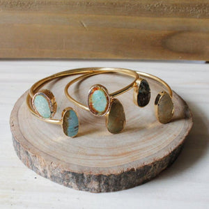 Natural Light Green Turquoise Double Stone Cuff,Bracelets - Dirt Road Divas Boutique