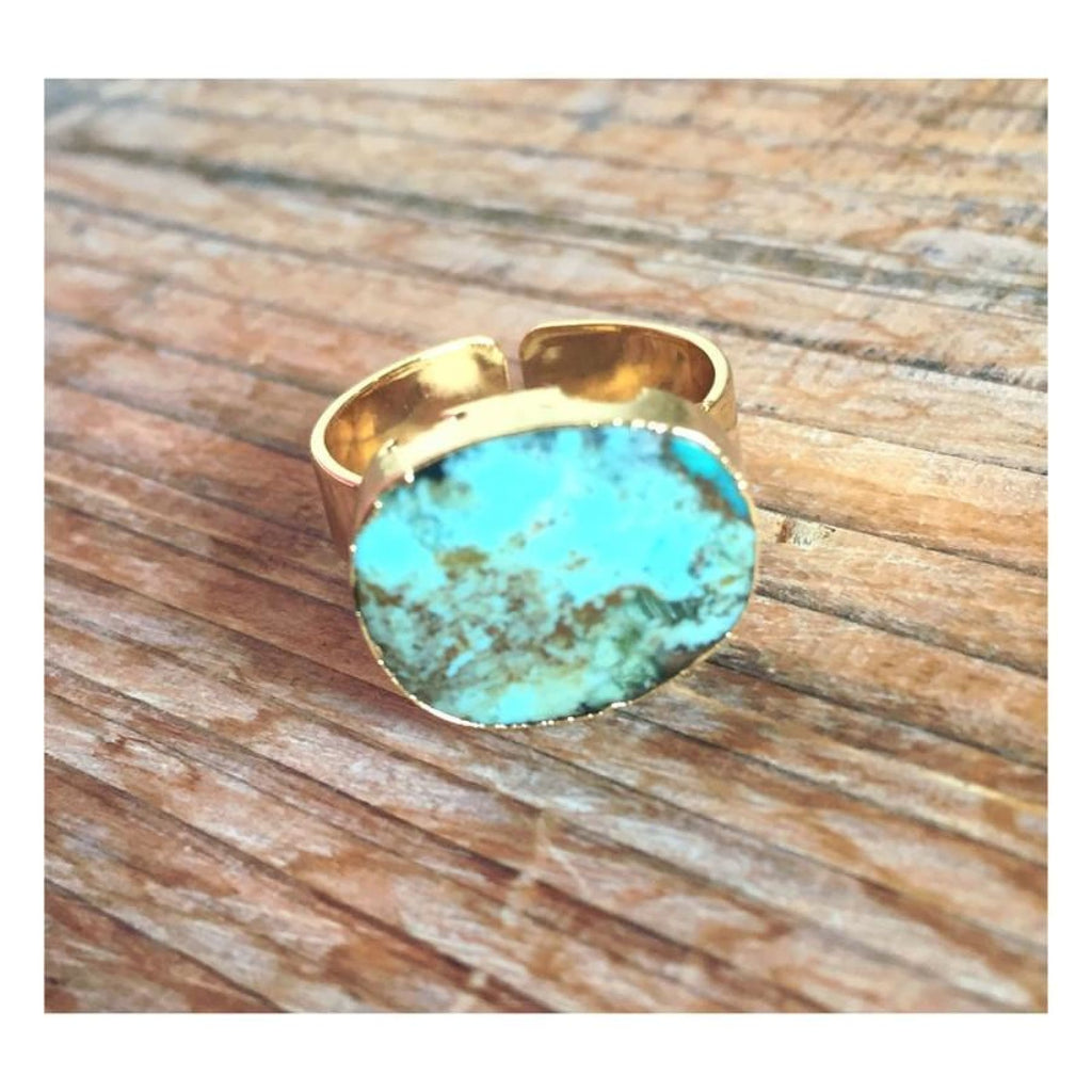 Natural Turquoise/ Dark Brown Stone Ring,Ring - Dirt Road Divas Boutique