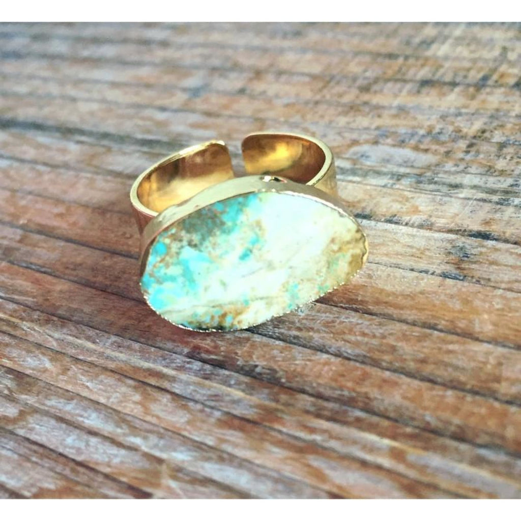 Natural Turquoise/ Lt Brown Stone Ring,Ring - Dirt Road Divas Boutique