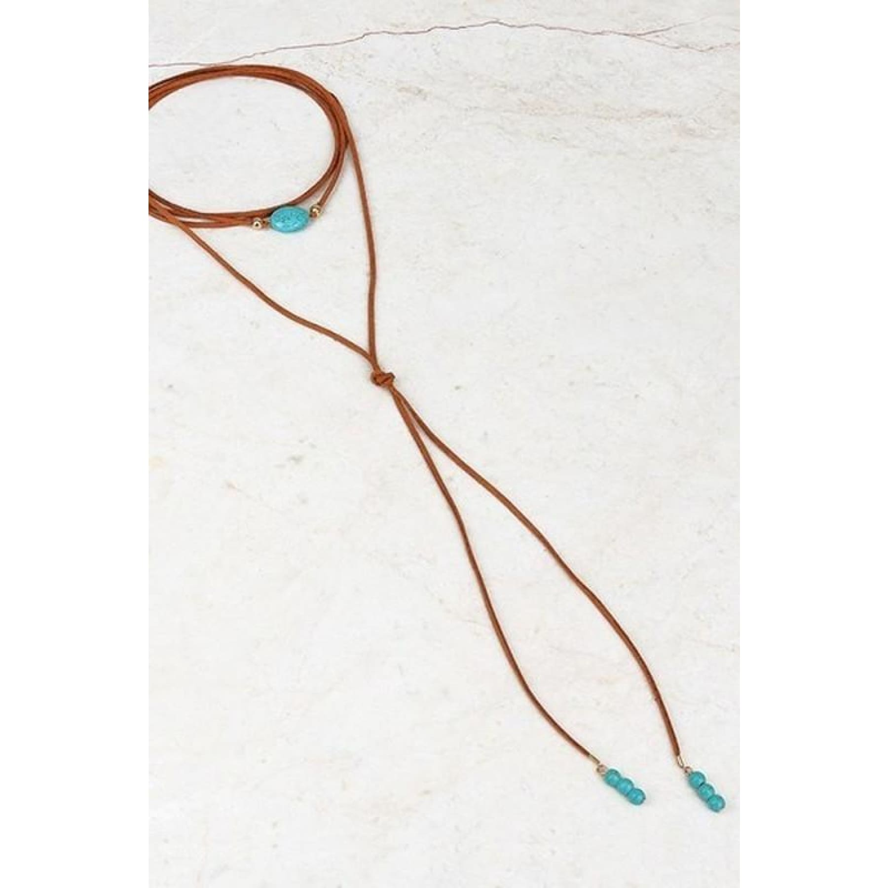 Oval Stone~ Suede and Turquoise Wrap Choker,Necklace - Dirt Road Divas Boutique