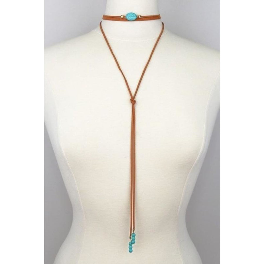 Oval Stone~ Suede and Turquoise Wrap Choker - Necklace