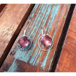 Rose Gold Small Circle Earrings with Dark Rose Swarovski Crystals,Earrings - Dirt Road Divas Boutique