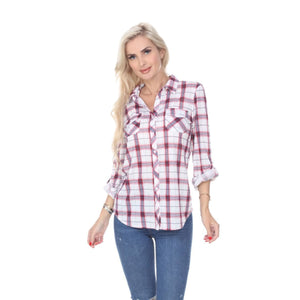 Perfectly Plaid  3/4 Sleeve Button Down Shirts ~ 4 Colors,Top - Dirt Road Divas Boutique
