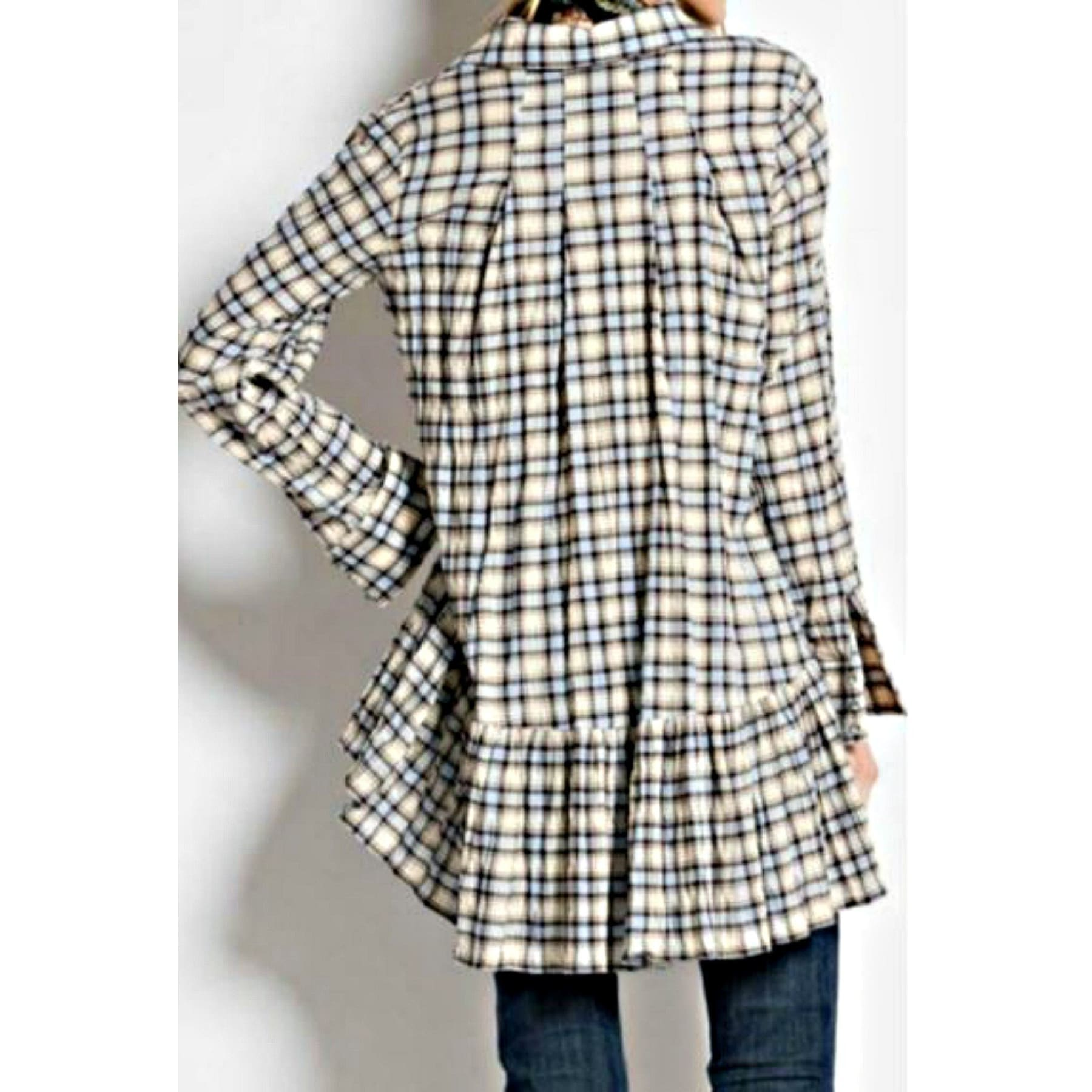 Perfectly Plaid Button Down Tunic Top,Top - Dirt Road Divas Boutique