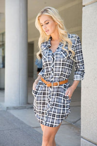 Piper Plaid Button Down Dress,Dress - Dirt Road Divas Boutique