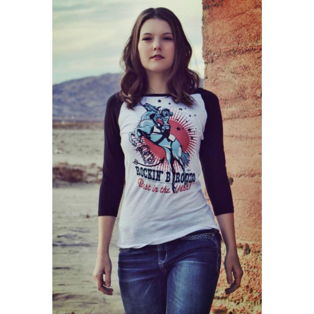 Rockin B Vintage Rodeo Girl Baseball Tee - Graphic Tee