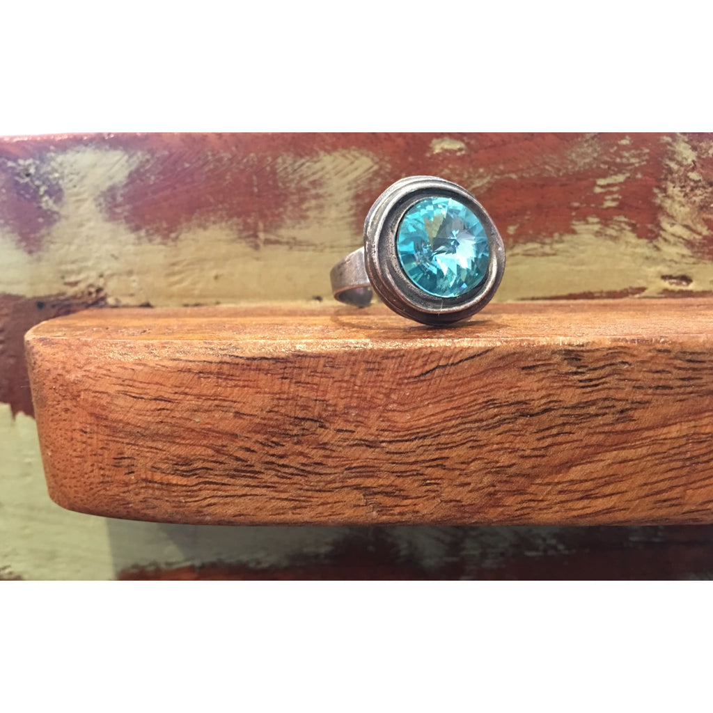 Round Silver Ring With Aqua Swarovski Crystal - Rings