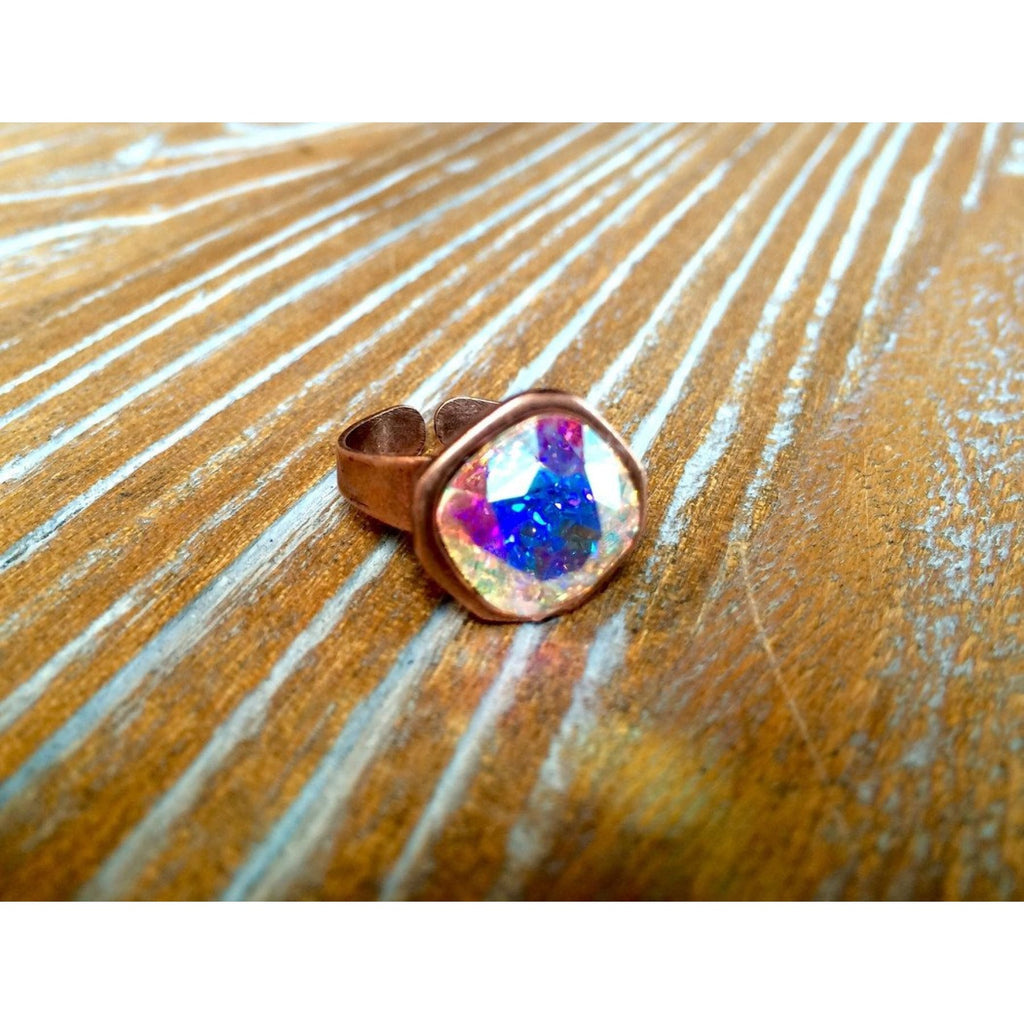 Rustic Copper Ring With AB Rose Swarovski Crystal,Ring - Dirt Road Divas Boutique