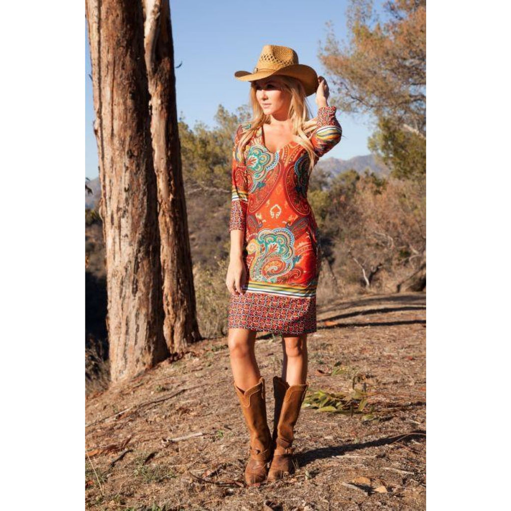 Rustic Ranch Dress in Copper Brown - Dress