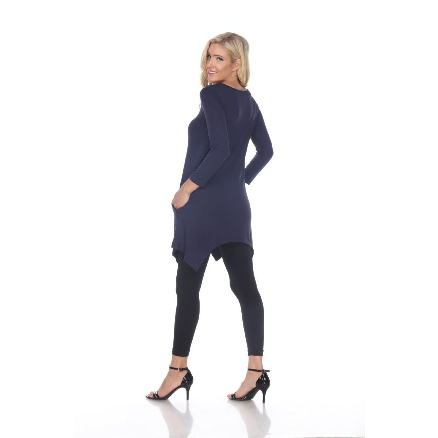 Side Pocket 3/4 Sleeve Solid Tunic Top ~4 colors