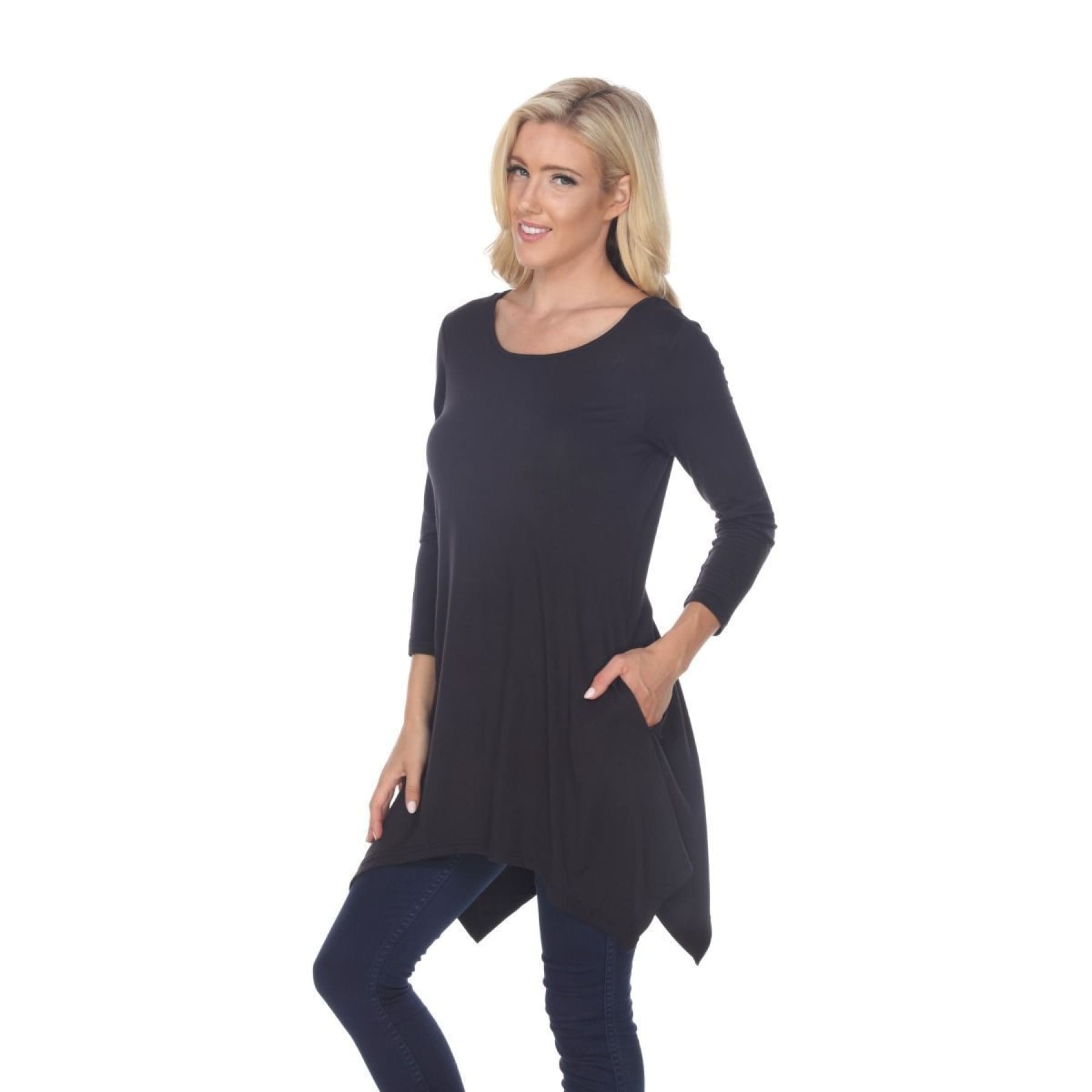 Side Pocket 3/4 Sleeve Solid Tunic Top ~4 colors - S / Black