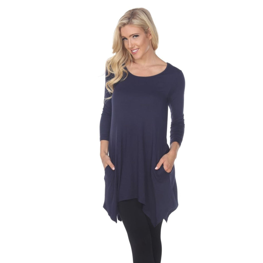 Side Pocket 3/4 Sleeve Solid Tunic Top ~4 colors - S / Navy