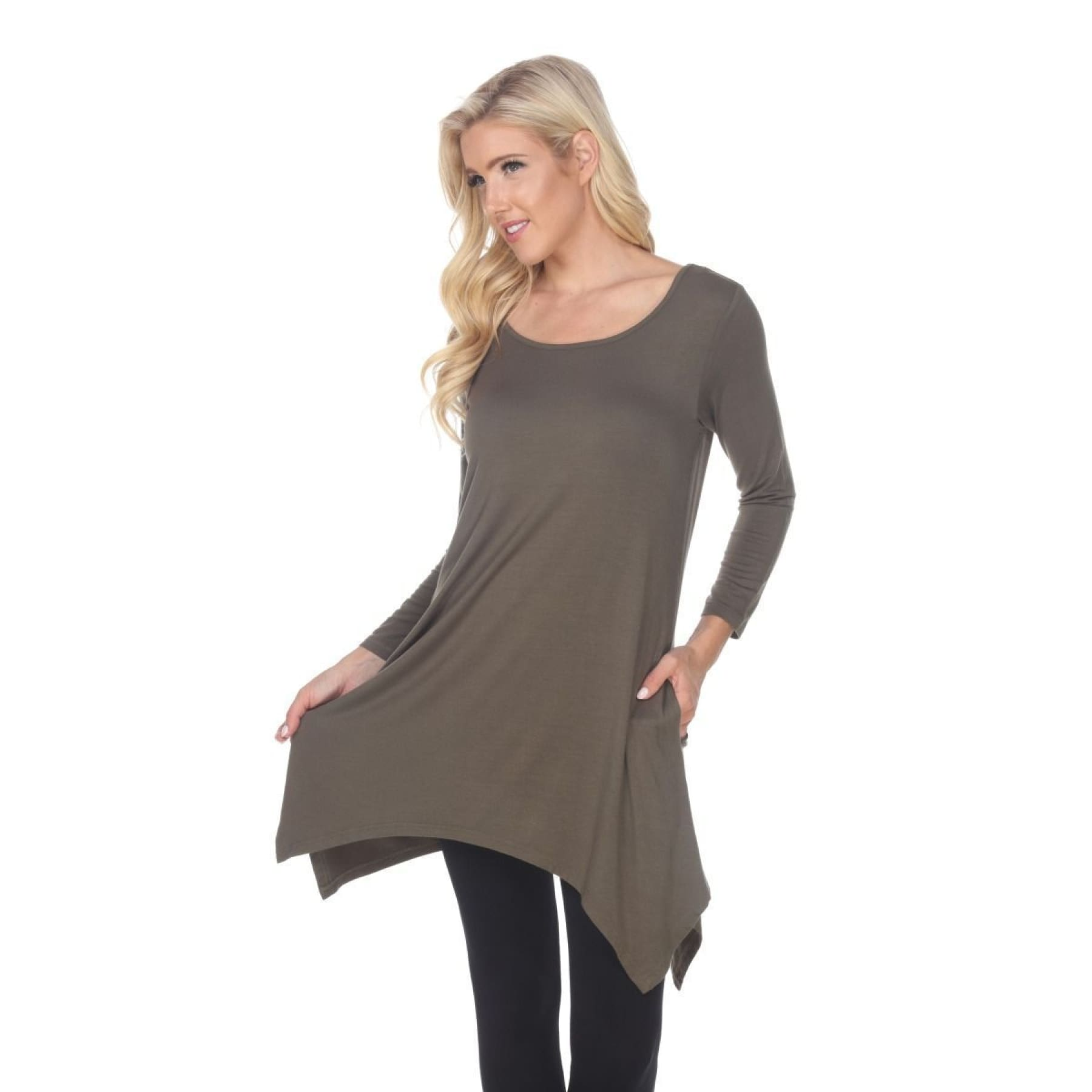 Side Pocket 3/4 Sleeve Solid Tunic Top ~4 colors - S / Olive