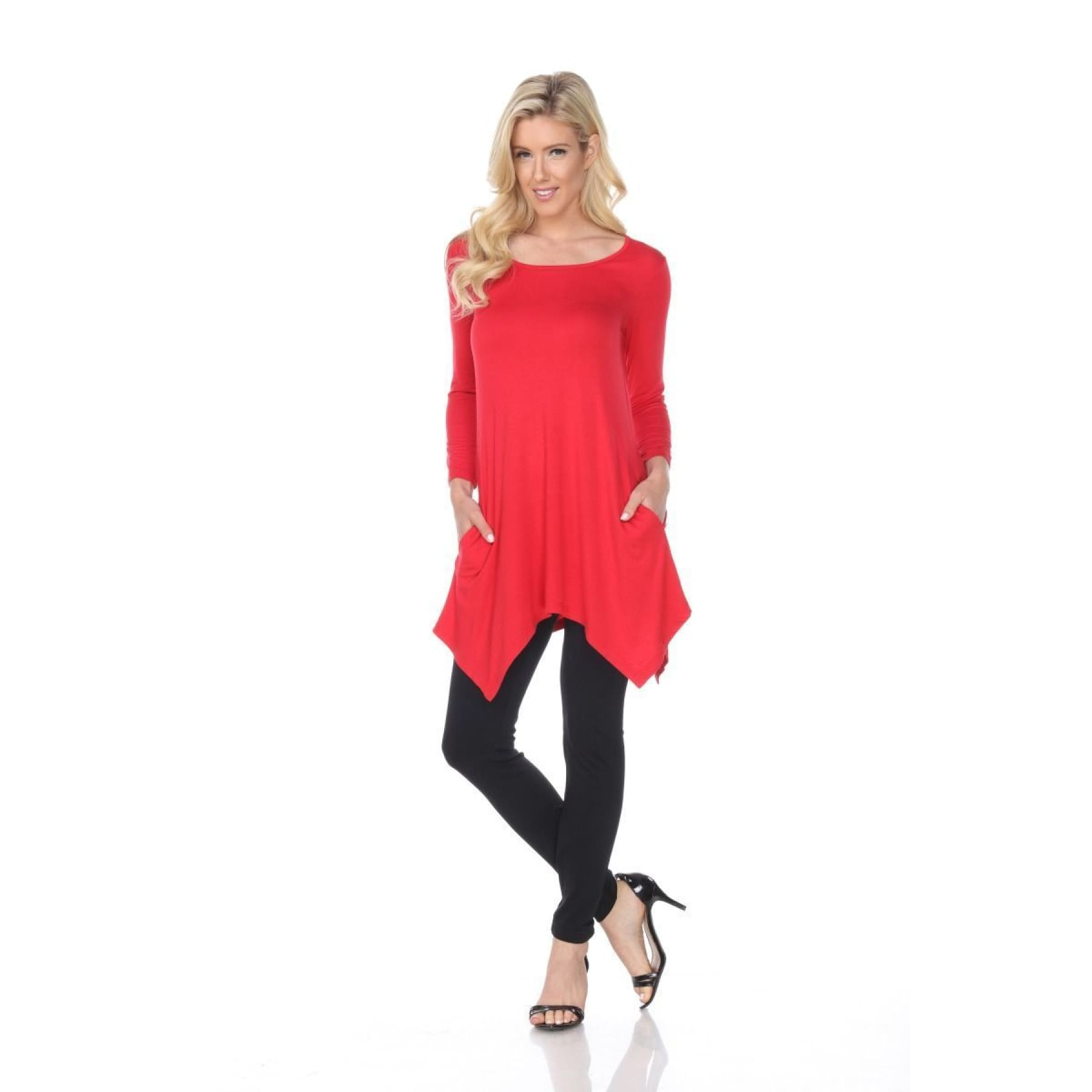 Side Pocket 3/4 Sleeve Solid Tunic Top ~4 colors - S / Red
