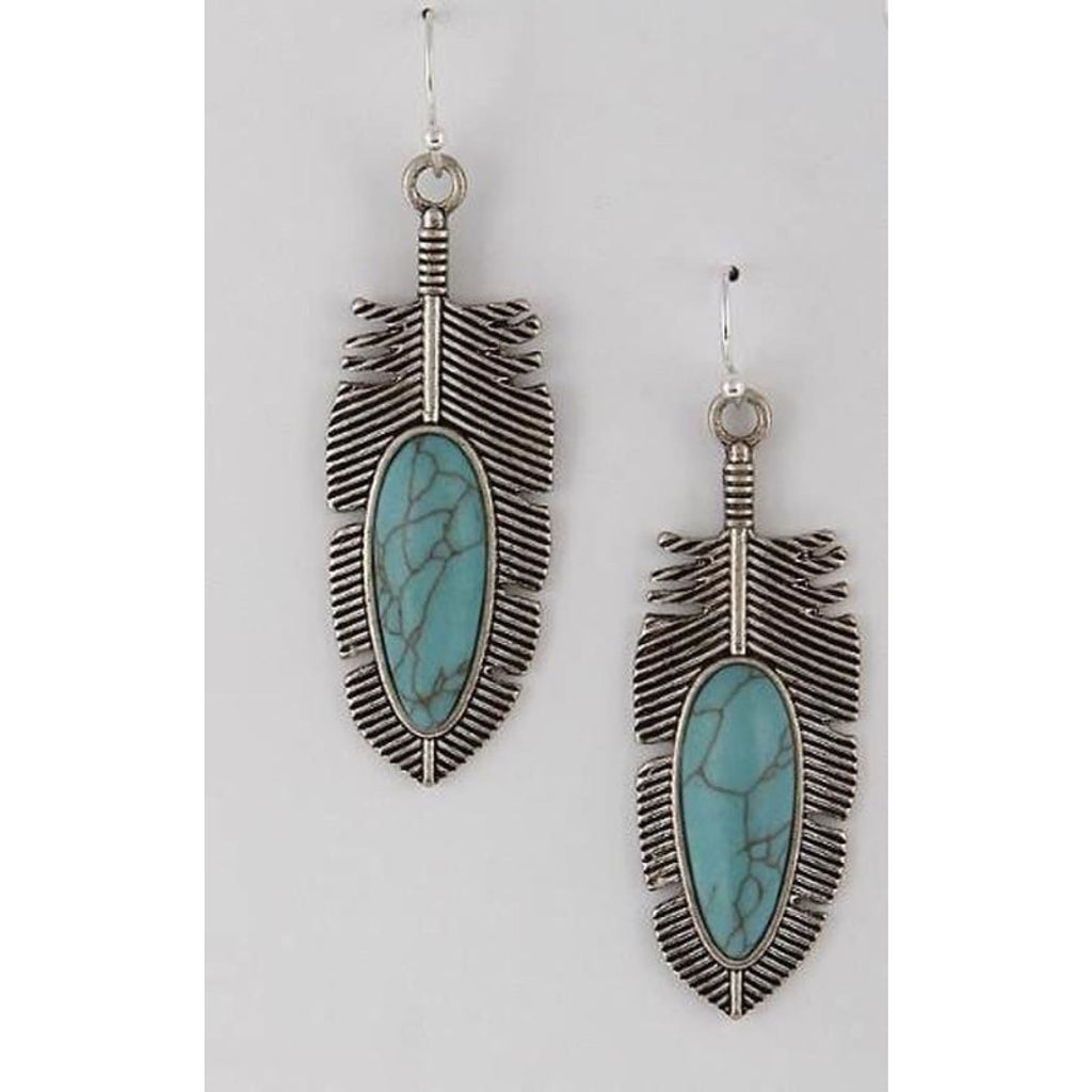 Silver Tribe Feather Earrings,Earrings - Dirt Road Divas Boutique