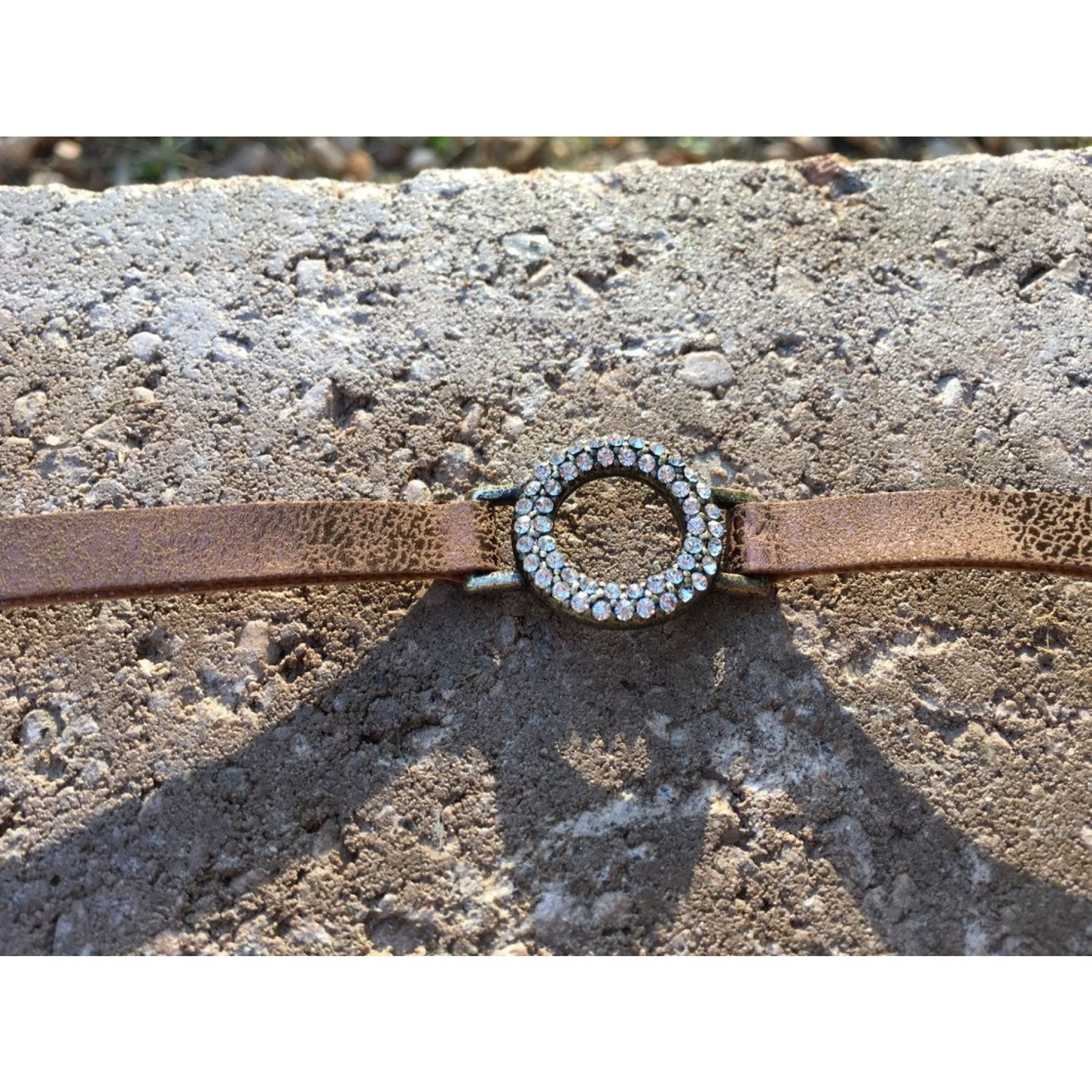 Small Circle of Life Crystal and Leather Cuff - Bracelet