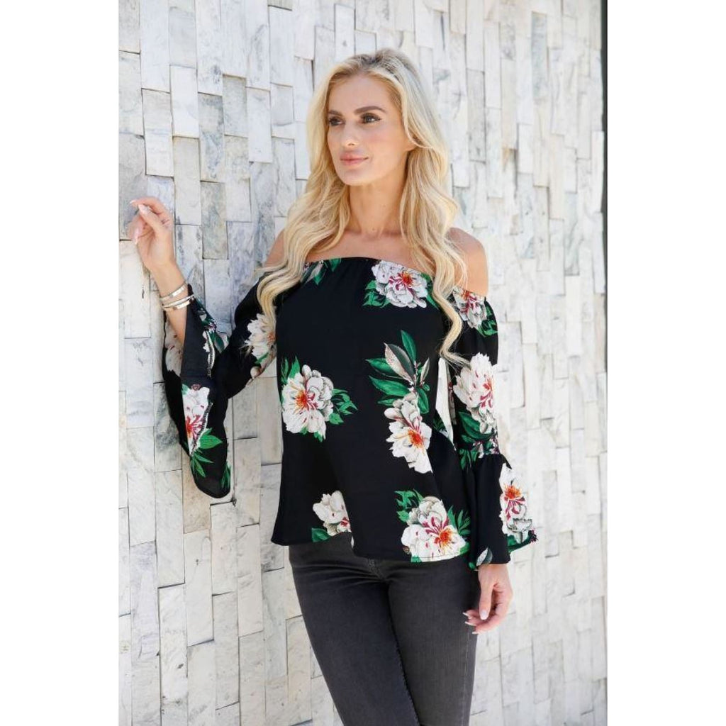 Southern Magnolia Bell Sleeve Floral Top,Top - Dirt Road Divas Boutique