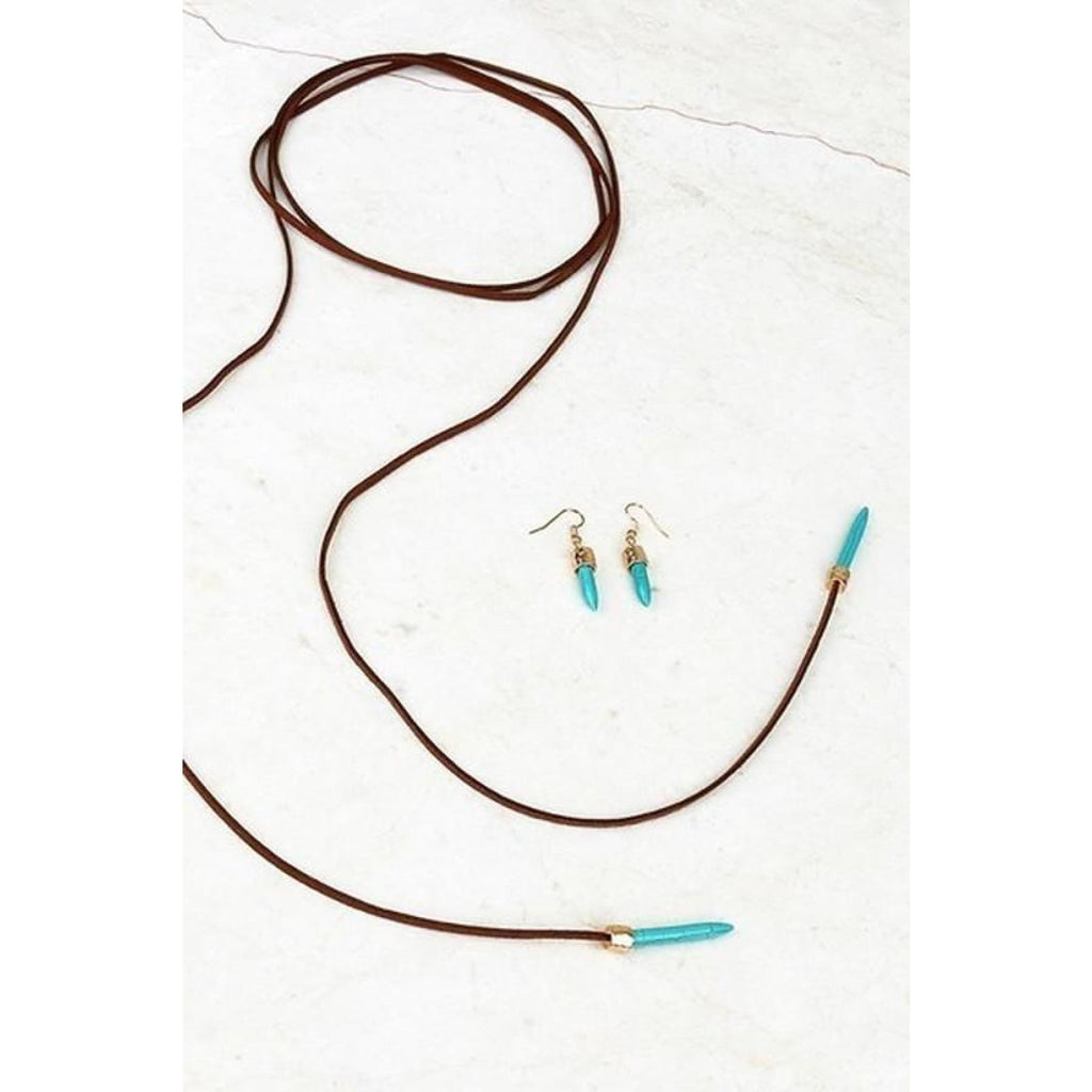 Sure Shot~ Suede and Turquoise Wrap Choker - Necklace