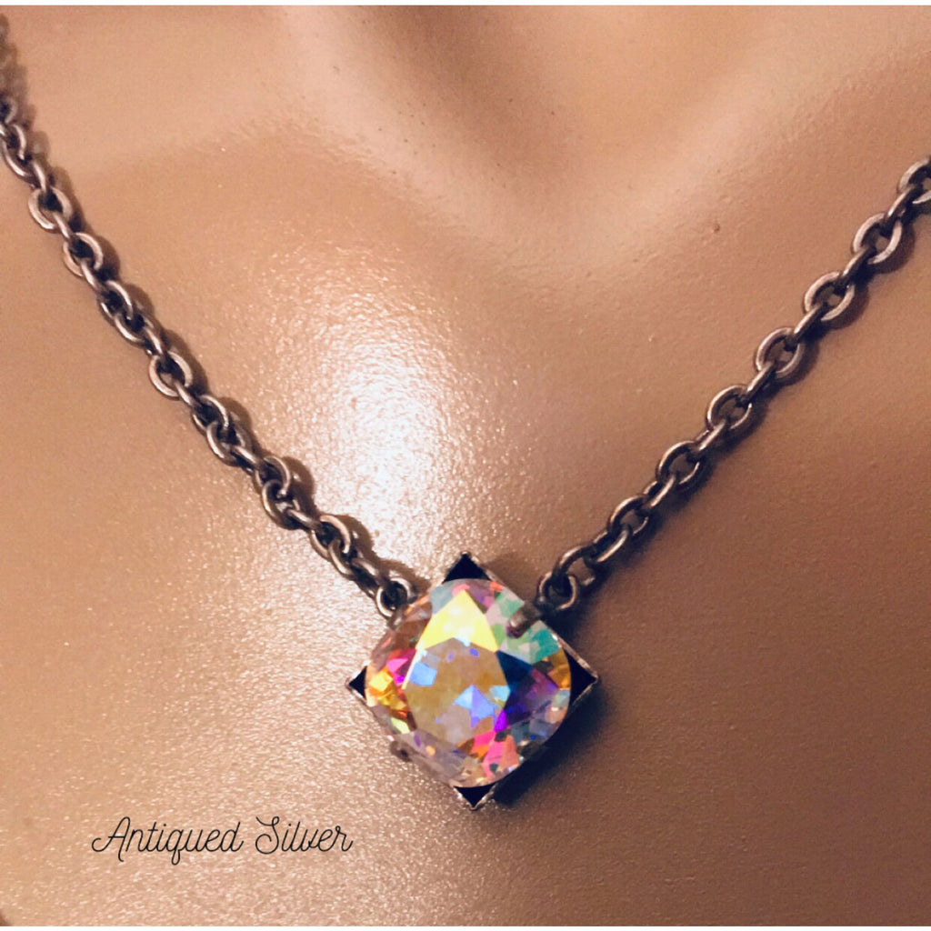 Swarovski Stunner Necklace~ Antique Silver & AB Crystal - Necklace