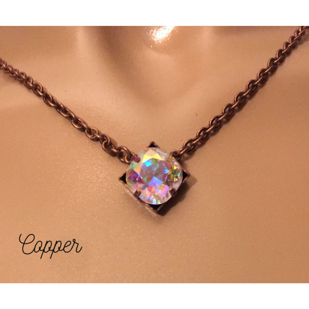 Swarovski Stunner Necklace~ Copper & AB Crystal - Necklace