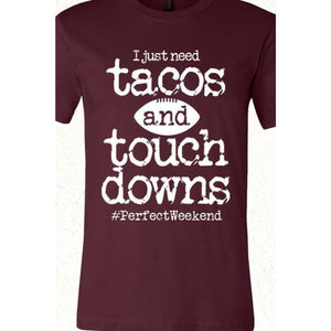 Tacos and Touchdowns Tee  (2 color choices),Graphic Tee - Dirt Road Divas Boutique