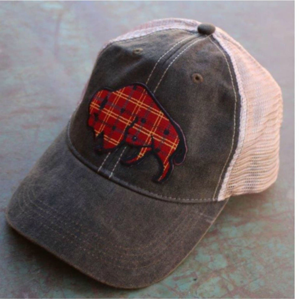 Tartan Plaid Buffalo Cap ~ Black Wash - Hats