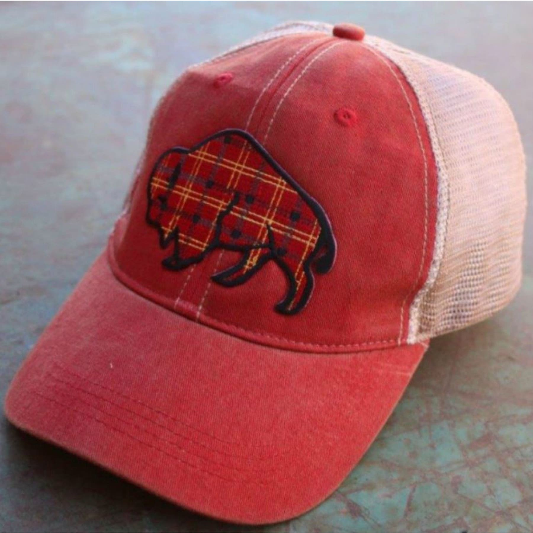 Tartan Plaid Buffalo Cap ~ Red Wash - Hats