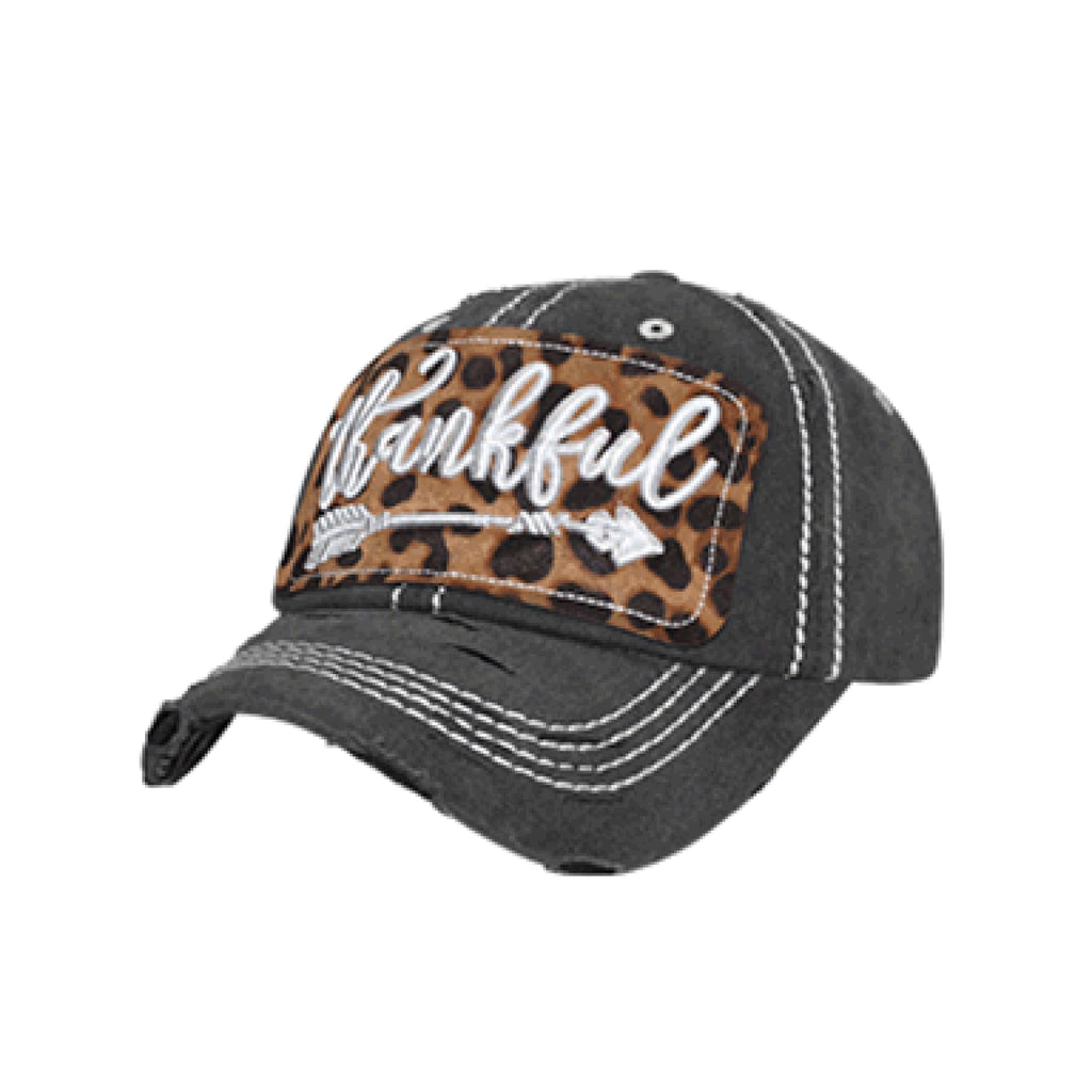 Thankful Arrow Trucker Cap~ Leopard ~ Black Wash,Hats - Dirt Road Divas Boutique