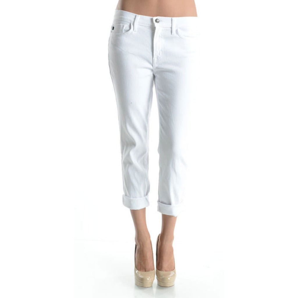 White Denim Boyfriend Capris,Jeans - Dirt Road Divas Boutique