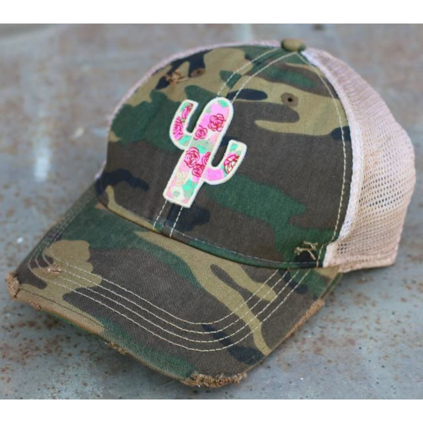 Wild Rose Destroyed Trucker Caps ~ Cactus Canyon - Camo - Hats